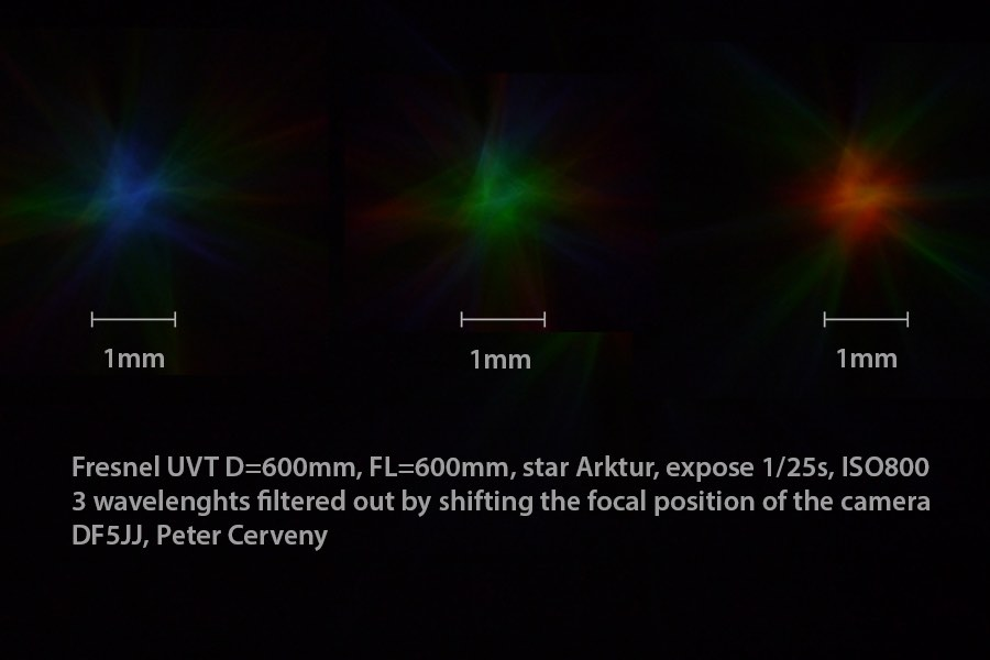 Blur circles of 450/550/660nm spectrum of star Arktur